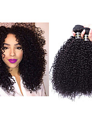 "3pcs/lot 8""-34"" Mogolian Kindy Curly Hair Kinky Curly Virgin Hair 300g Hair Weft Weaving #1b Hair Extension"