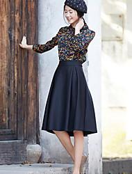 Women's Black Skirts , Casual Midi