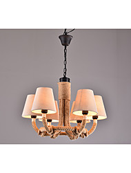 Retro Cloth Cover Lamp Bedroom Restaurant Bar Coffee Hall Chandelier Rope Personality Decorative Lamp Patent Products