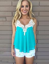 Damen Tank Tops,V-Ausschnitt / Gurt Sommer Ärmellos Blau Polyester Dünn