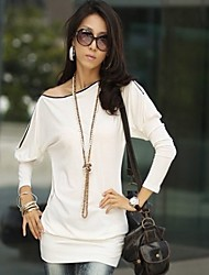 Women's Sexy/Casual/Cute/Party/Work Micro-elastic Long Sleeve Regular T-shirt (Cotton)