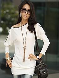 Assymmetrisch - Katoen - Rits - Vrouwen - T-shirt - Lange mouw