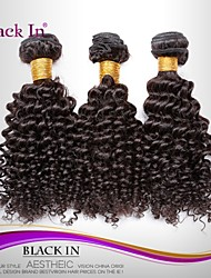 "3 Pcs Lot 12""-30"" Brazilian Kinky Curl Wefts Natural Black Remy Human Hair Weave Tangle Free"