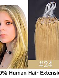 3 Set 24 Zoll remy Mikroring / Schleifenhaar 0,7 g / s Echthaar Haarverlängerungen 14 Farben für Frauen Schönheit