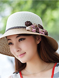 Women Casual Summer Floral Linen/Straw  Sun Hat