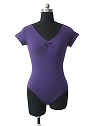 Cotton/Lycra Short Sleeve Pinch Front Round Back Leotard More Colors for Girls and Ladies