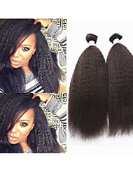 "3pcs / lot 10 ""-34"" brazilian virgin hair kinky recht weave # 1b 300g menselijk haar recht brazilian hair extensions"