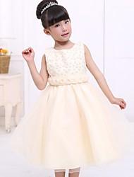 Цветочница платье - Трапеция Длина ниже колен Без рукавов Атлас/Тюль