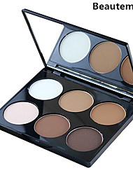 6 Color 2in1 Bronzer&Highlighting Powder Bright&Matte Makeup Cosmetic Palette with Mirror