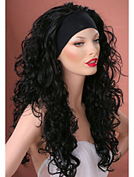 3/4 wigs With Headband Long Curly Black Synthetic Hair Wig