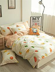Fresh Fruit Bed Linen Cotton Bedspreads Duvet Cover Set 100% Cotton Orange Print Doona Cover Queen Size
