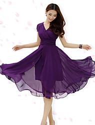 Y&Z Women's Casual V-Neck Short Sleeve Dresses (Chiffon)