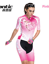 SANTIC Women's Short Sleeve Cycling Jersey + Shorts Polyester+Spandex Breathable Cycling Suit - Pink