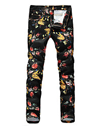 Men's Casual Flower Print Jeans Black Denim Pant (Cotton/Denim)