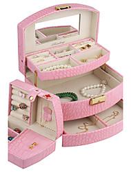 similpelle moderna vetrina gioielli casella per gli anelli bracciali collana con auto cassetto aperto