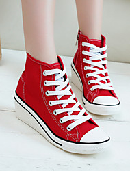 Women's Shoes Canvas Wedge Heel Platform/ Comfort Toe Sneakers Casual Black/Dark Blue/Light Blue/Red/White