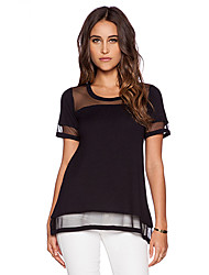 Women's American Apparel See-Through Mesh Patchwork Loose T-Shirt