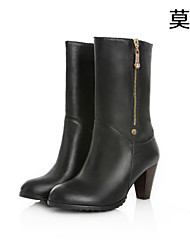 Women's Shoes Leather Chunky Heel Fashion Boots Boots Office & Career/Party & Evening/Casual Black