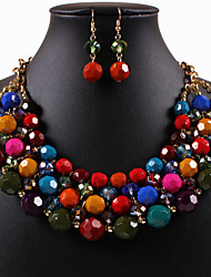 Women Vintage/Cute/Party/Casual Alloy/Rhinestone/Gemstone & Crystal/Cubic Zirconia Necklace/Earrings Sets