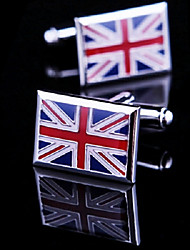 Toonykelly Fashion Copper Silver Plated Square Flag Shirt Button Cufflink(1 Pair)
