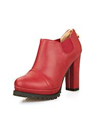 Calçados Femininos Courino Salto Grosso Saltos/Arrendondado Botas Escritório & Trabalho/Social/Casual Preto/Amarelo/Vinho