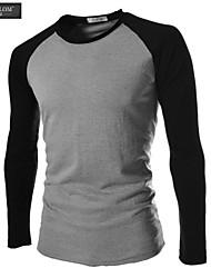 JESUNLOM®Man's T-shirt Fashion Long Sleeve Color Blocking Slim T-shirt England Style Young Man Casual Under Shirt