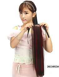 The New Dark Brown Dye  Red Tether Straight Hair Ponytail