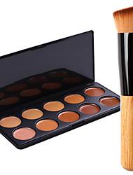 New 10Colors Salon Contour Face Cream Makeup Concealer Palette+Blush Brush