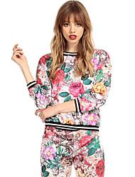 RICHCOCO® Women's Fashion Plant Floral Print Round Neck Hoody