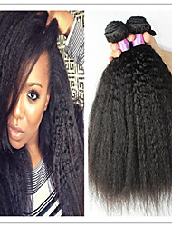 3Pcs/Lot 8A Mongolian Afro Kinky Straight Virgin Hair Natural Afro Kinky Straight Hair Weave