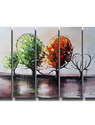 Hand-Painted Art Wall Decor Green Tree World Oil Painting on Canvas  5pcs/set (Without Frame)