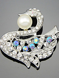 The Swan With Shineing Pearl Brooch Clothing Accessories