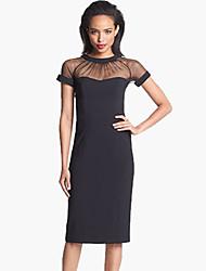Women's Sexy/Casual/Party/Work Micro-elastic Short Sleeve Knee-length Dress Summer Women Mesh Patchwork Dress