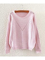 Normal Pullover FemmeCouleur Pleine Col Arrondi Manches Longues Coton Automne Moyen Micro-élastique