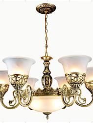 lustres en bronze neuf lumières moiré verre européen 220v classique rétro