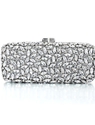 Miss Ricy Women's Dazzling Silver Plating Alloy Rhinestone Crystal Evening Bag