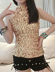 Women's  Gold Sequins Vest  Shirts