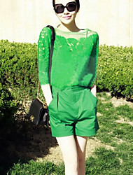 Women's Casual/Daily Simple / Street chic Summer Blouse,Solid ¾ Sleeve White / Green Thin