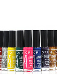 French Nail Art Dotted Pen Glitter Nail Art Polish Lacquer Fingernail Drawing Brush(12 Colors Available ,10ml)