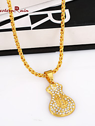 WesternRain High Quality 24K Gold Plated Man Jewelry Necklace 75cm Long Gold Hiphop Neutral  Chains Chain Letter Pendant