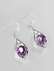 Hot Selling Wedding Dress 925 Silver Plated Drop Earrings for Lady with Purple Zircon Classical Design