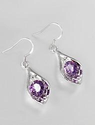 heet de verkoop van trouwjurk 925 zilveren vergulde oorbellen voor de dame met paarse zirkoon klassiek design