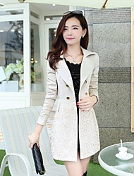 Women's Solid Pink/Green/Beige Trench Coat , Casual/Work Long Sleeve Organza/Cotton/Nylon Embroidery