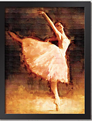Ballerina Frame Wall Art Wood Frame with Canvas with Plastic Organic Glass Random color 1Piece/set
