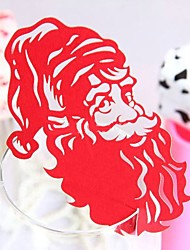 12pcs Santa Claus Wine Glass Card Escort Cup Card Table Name Number Place Card for Christmas Party Window Decorations