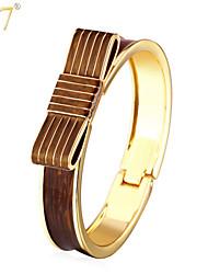 U7® Women's Trendy Bowknots Ribbon Bangles 18K Gold Plated Jewelry Gifts Two Colors Enamel String Belt Bracelets Bangles