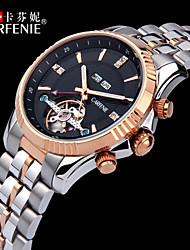 carfenie ® aço inoxidável relógios de auto-liquidação automáticas voga moda para homens 5ATM resistente à água