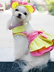 Dog / Cat Dress / Bandanas & Hats Pink / Yellow Summer Wedding / Cosplay