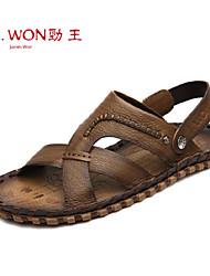 Zapatos de Hombre Exterior/Oficina y Trabajo/Casual Cuero Sandalias Bronce/Naranja