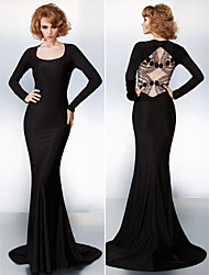 TS Couture Formal Evening Dress - Black Plus Sizes / Petite Trumpet/Mermaid Scoop Court Train Jersey